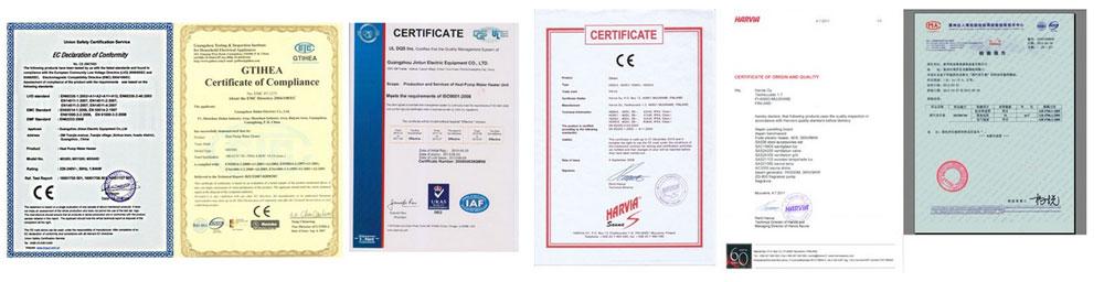 Máy xông hơi Harvia certifications